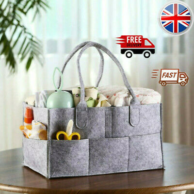 Baby Diaper Organizer Caddy Felt Changing Nappy Kids Storage Carrier Bag Grey