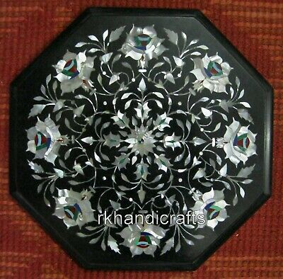 12 Inches Marble Bed Side Table Top Inlay Corner Table MOP Precious Stones