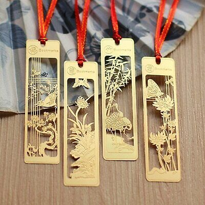 4pcs/lot Creative Chinese style gold metal bookmarks plum blossoms orchid bam…