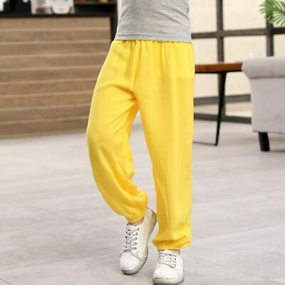 Kids Anti-mosquito Pants Boys Girls Sports Children Pure Color Trousers Cotton