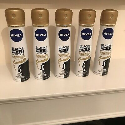 Nivea Black & White Invisible Silky Smooth After Shaving AntiPerspirant 150ml x5