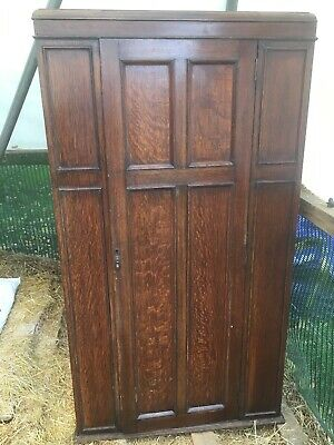 Antique Solid Wood Brown Wardrobe Double Doors Exterior Mirror