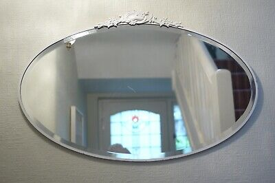 Vintage Art Deco Oval Bevelled Wall Mirror Ornate 1930s 1920s 69 x 45cm