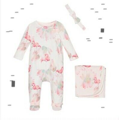 Ted Baker Baby  Girls Flamingo  Print Sleepsuit Blanket & Headband 9-12 Bnwt