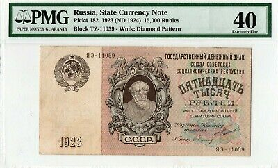 Russia,State Currency Note 1923 (1924)  15,000 RUBLES. PMG-40