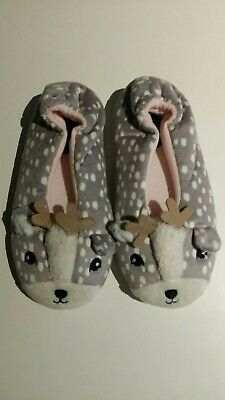 M&S Reindeer Christmas Slippers Size 1 Brand new