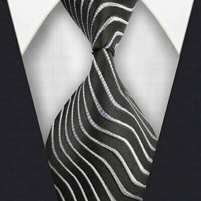 New Classic Striped Ties WOVEN JACQUARD 100% Silk Men's Suits Tie Necktie #L424