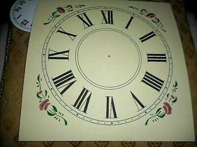 "Large Square Paper (Card) Clock Dial - 8"" M/T - Floral Corners - CREAM - Parts"