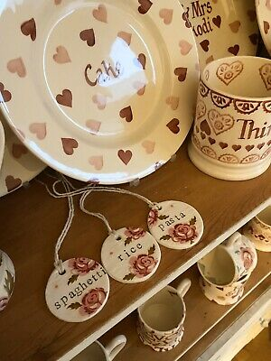 Emma Bridgewater Themed Handmade Clay Tags - Scattered Rose - Pasta, Rice, Spag