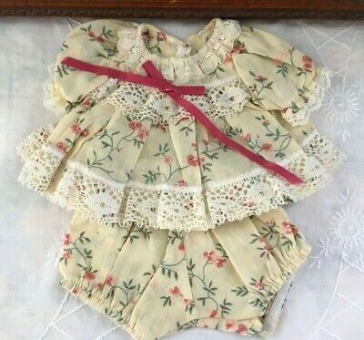 Dress And Pants Set Made For My Child Doll 2 Pc Pink Floral On Cream 100% Cotton