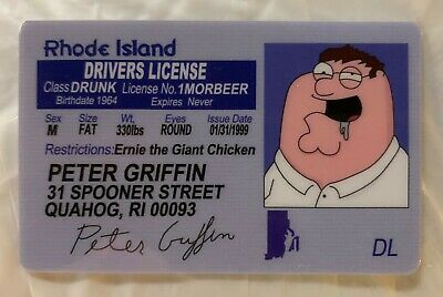 Peter Griffin Family Guy Rhode Island Drivers License Novelty ID Animated Stewie