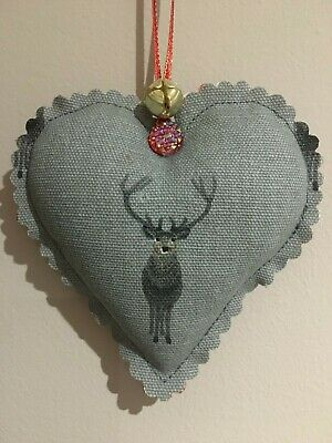 Sophie Allport Handmade Fabric Christmas Stag Hanging Heart Decoration*