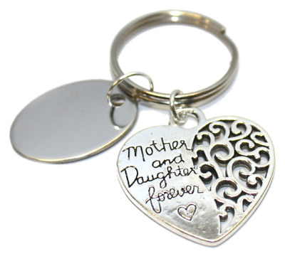 personalised metal mother and daughter forever heart keyring in gift pouch BR587