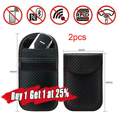 2PCS Car Key Signal Blocker Case Pouch Bag Faraday Cage Keyless RFID Block Black