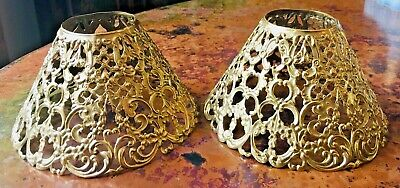 Pair (2) Antique Pierced Cut Metal Candle Lamp Shades Floral Filigree