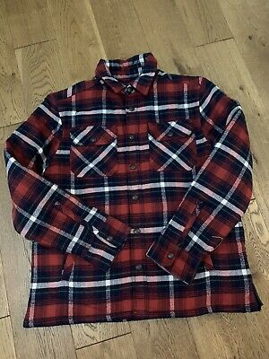 Bnwt Ralph Lauren Boys Red Checked Shirt Jacket Age 10-12 Years
