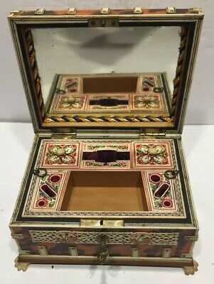 19TH Century Anglo-Indian Sewing Box Etui Faux Tortoise With Key