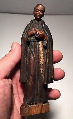 Antique Hand Carved Wooden Painted Priest Statue Carving