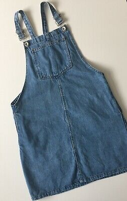 New Look Petite Denim Blue Pinafore Dress With Pockets Size 10