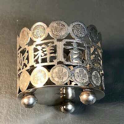 Antique Chinese Silver WN Hallmarked Stand. Chinese Coins Design Late19 Early20C