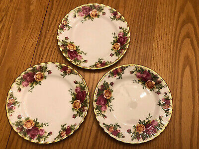 "3 Vintage Royal Albert, Old Country Roses,6 1/4""Dessert Plates - Marked 1962"
