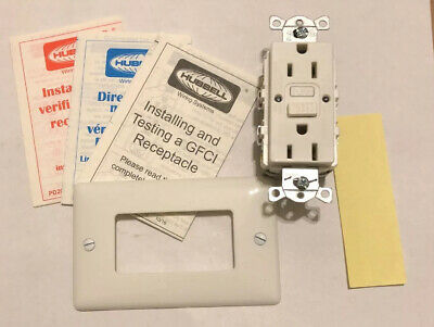 HUBBELL WIRING DEVICE-KELLEMS GFCI Receptacle,15A,125VAC,5-15R,White, GFRST15W