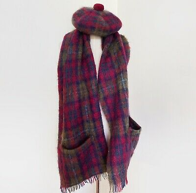 vintage wool and mohair rainbow plaid tartan check scarf matching hat beret
