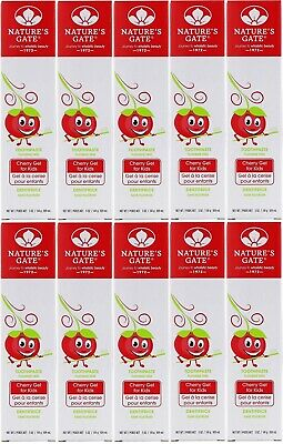 Lot Of 10 Nature's Gate, Fluoride Free Toothpaste, Cherry Gel For Kids, 5 Oz