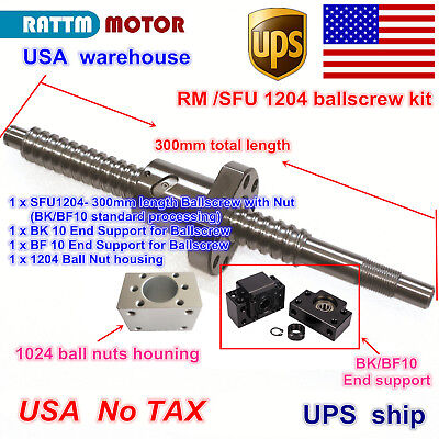 【US】 RM SFU1204-L300mm Ballscrew end machined+Nut Housing+BK/BF10 For CNC Router