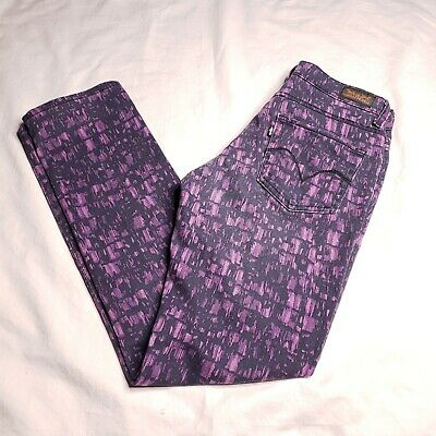 Levis Womens Size 6 Short Mid Rise Skinny Stretch Purple Black Denim Jeans