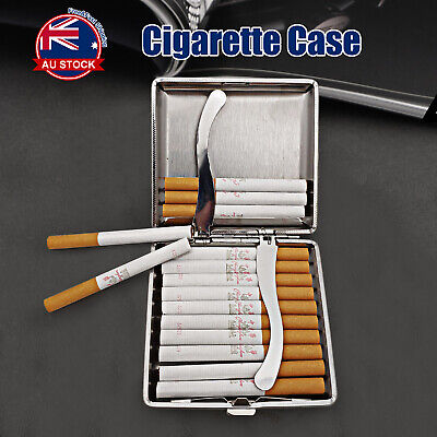 Stainless Steel+Pu Cigar Cigarette Tobacco Case Pocket Pouch Holder Box J