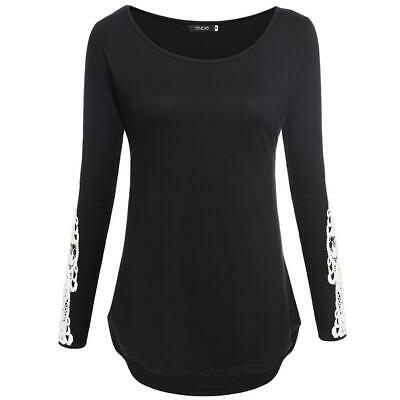 Women Casual O-Neck Lace Patchwork Long Sleeve Slim Stretch Tops GDY7