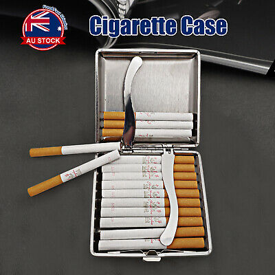 Stainless Steel+Pu Cigar Cigarette Tobacco Case Pocket Pouch Holder Box E