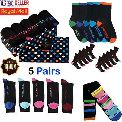5 Pairs Days of the Week Mens Socks Cotton Rich Casual Smart Sock Multipack 6-11