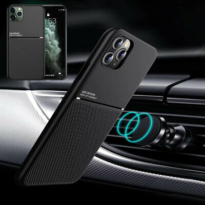 For iPhone 11 Pro Max XR X XS 8 7 Plus Magnetic PU Leather Metal Slim Case Cover