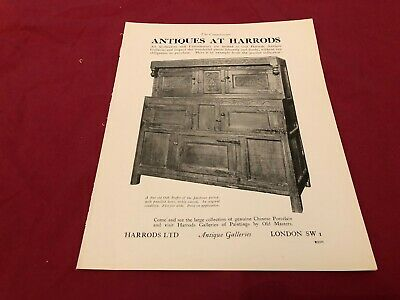 "(Aabk2) Antiques Advert 11X8"" Harrods London : Old Buffet Of The Jacobean Period"