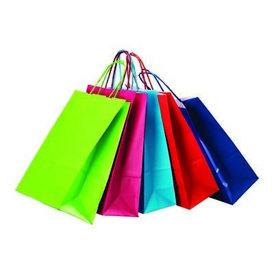 Paper Bags Coloured Ribbed Gift-Carrier Bags-Retail-Party Bags Pack Of 50