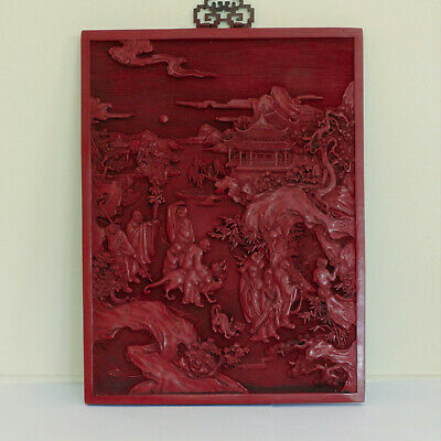 Carved Cinnabar Lacquer Lacquered Panel Wood Red Chinese Antique Qing Dynasty