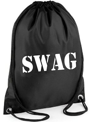 SWAG BAG Printed Gymsac Black Funny Thief Burglar Fancy Dress Costume Hen Party
