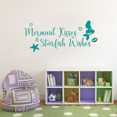 MERMAID KISSES Personalized Name Custom Decal Wall Sticker Decor Mural SQ213