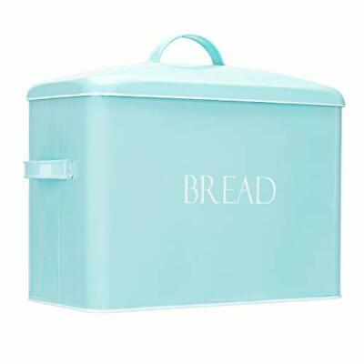 Outshine Vintage Metal Bread Bin - Countertop Space-Saving, Extra Large, Mint