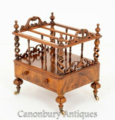 Victorian Canterbury Antique Walnut 1870 Magazine Book Rack