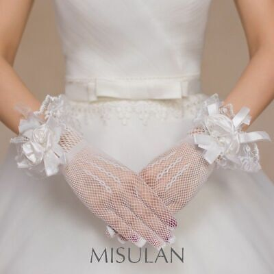 Wholesale JOBLOT 44 Pairs WHITE fishnet Flower Wedding Gloves Wrist Length