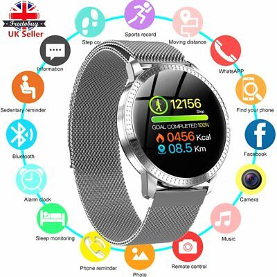 Smart Watch Fitness Tracker Waterproof Blood Pressure Heart Rate Tempered Mirror