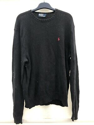 Polo Ralph Lauren Black With Red Logo Jumper Mens Large VGC 057