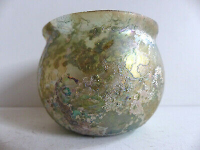 SUPERB ANCIENT ROMAN GREEN GLASS JAR w STUNNING IRIDESCENCE 2nd CENT. AD ( #2 )
