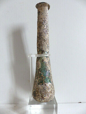 SUPERB ANCIENT ROMAN GREEN GLASS BOTTLE w STUNNING IRIDESCENCE 2nd CENT. AD(#4)