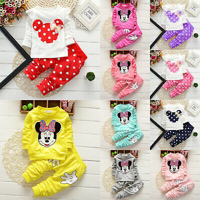 Toddler Kid Baby Girl Minnie Mouse Polka Dot Warm Tracksuit Outfits Suit Pants