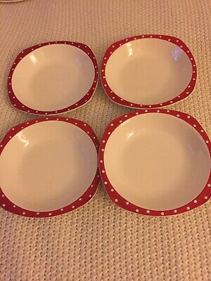 Midwinter Pottery Red Domino 4 Desert Plates