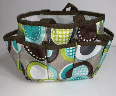 Thirty One Mini On The Go Organizer Minty Chip Blue Green Brown Circles